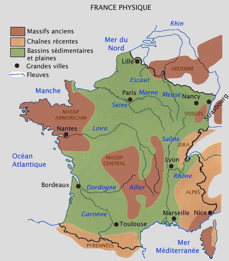 carte de geographie france - Image